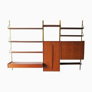 Estantería de pared modular vintage de teca y latón, años 60