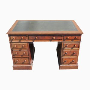 Antique Mahogany and Leather Topped Pedestal Desk