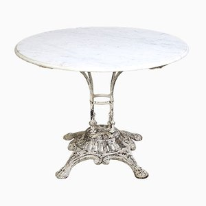 French Garden Table with Lion Feet and Marble Top from E.W. Depose, 1900s