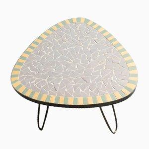 Petite Table d'Appoint Mid-Century en Laiton et Céramique, 1950s