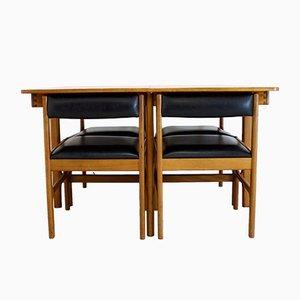 Mesa de comedor extensible Mid-Century de teca con cuatro sillas de McIntosh, años 60