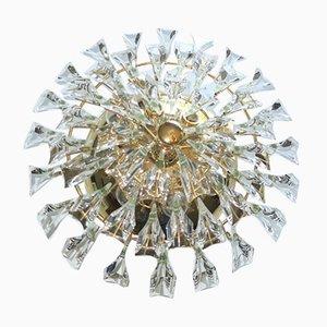 Plafón italiano de latón dorado y cristal de Stilkronen, años 70