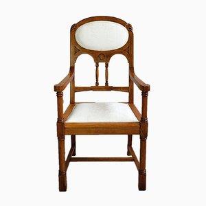 Antique Art Nouveau Oak Armchair