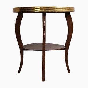 Tavolino Art Déco con ripiano in ottone, anni '20