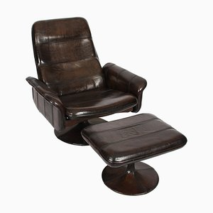 Leather Lounge Chair and Ottoman from de Sede, 1970s