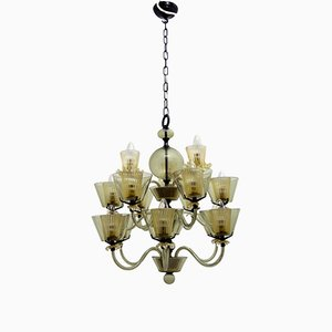 Italian Hand-Blown Glass Chandelier from Seguso, 1970s