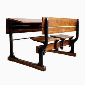 Vintage Industrial Cast Iron and Wood 2-Seater School Desk, 1920s