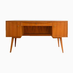 Large Mid-Century Glass and Teak Desk, 1960s