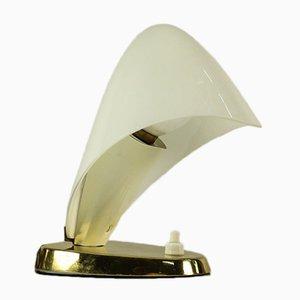 Lampada da tavolo in ottone e vetro satinato, anni '50