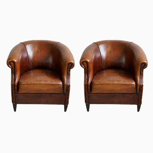 Leather and Wood Club Chairs, 1970s, Set of 2