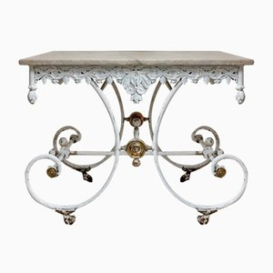 19th Century French Cast Iron and Marble Patisserie Table