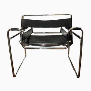 Wassily B3 Sessel mit Chromgestell & schwarzem Ledersitz von Marcel Breuer für Habitat, 1970er