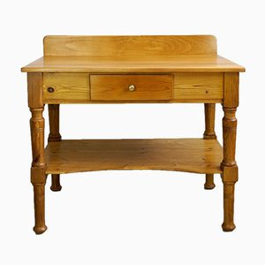 Antique Art Nouveau Wood and Spruce Washstand or Kitchen Table