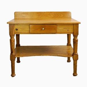 Table de Toilette ou de Cuisine Art Nouveau Antique en Bois et Épicéa