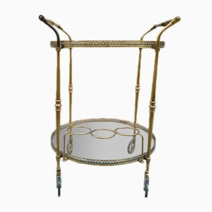 Italian Brass and Glass Serving Trolley, 1950s