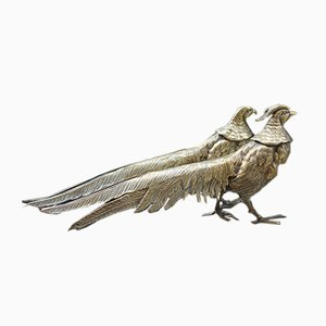 Brass Pheasant Garden Sculptures, 1950s, Set of 2