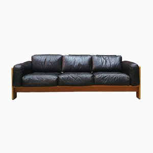 Italian Leather & Wood Bastiano Sofa by Tobia & Afra Scarpa for Knoll, 1962