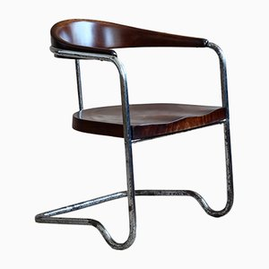 Bauhaus Beech & Tubular Steel Cantilever Chair by Hans & Wassili Luckhardt, 1930s