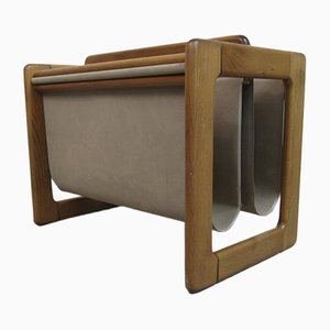 Vintage German Suede Magazine Rack, 1970s
