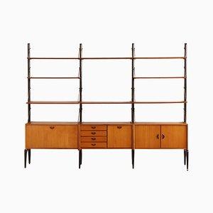 Mueble de pared modular de teca de Louis van Teeffelen para WéBé, años 60