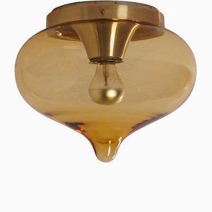 Lámpara de techo abatible de aluminio y vidrio de Dijkstra, años 70