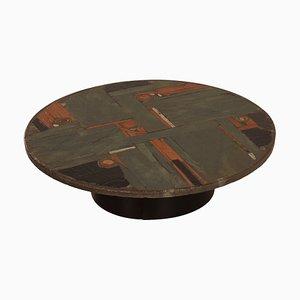 Mesa de centro redonda de piedra de Paul Kingma, años 70