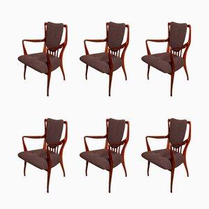 Esszimmerstühle aus Palisander mit Wollbezug von Andrew Milne für Heals, 1950er, 6er Set