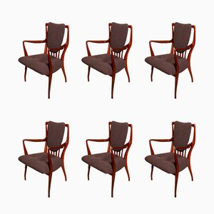 Rosewood and Wool Dining Chairs by Andrew Milne for Heals, 1950s, Set of 6