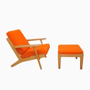Danish GE 290 Lounge Chair and Ottoman by Hans J. Wegner for Getama, 1970s
