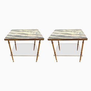 Tables d'Appoint Mid-Century en Laiton, France, 1950s, Set de 2