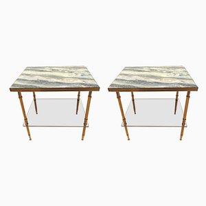 Tavolini Mid-Century in ottone, Francia, anni '50, set di 2