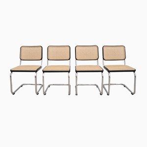 Chaises de Salle à Manger S32 en Bois et Acier Tubulaire par Marcel Breuer pour Thonet, Allemagne, 1980s, Set de 4