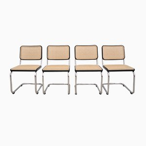 German Wood and Tubular Steel S32 Dining Chairs by Marcel Breuer for Thonet, 1980s, Set of 4