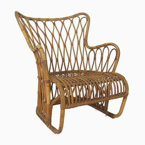 Rattan, Bamboo & Wicker Lounge Chair by Rohé Noordwolde, 1960s