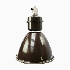 Vintage Industrial Brown Enamel Pendant Lamp