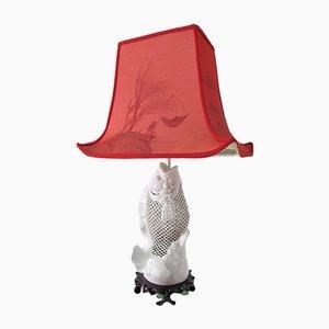Lámpara de mesa Mid-Century en forma de pez de porcelana Blanque de Chine, años 40