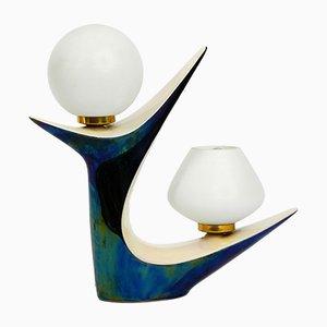 Lámpara de mesa francesa de cerámica de Verceram Céramique, años 50