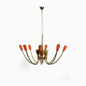 Lámpara de araña Mid-Century grande de latón y metal de 8 brazos