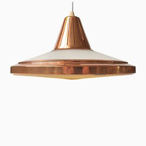 Lampada da soffitto in rame ed acrilico di Vitrika, Danimarca, anni '70