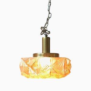 Moderne dänische Deckenlampe aus Messing & Kristallglas von Vitrika für Vitrika, 1960er