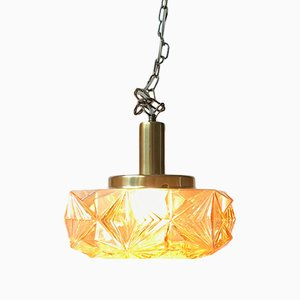 Scandinavian Modern Danish Brass and Crystal Ceiling Lamp for Vitrika, 1960s