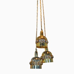 Finnish Brass & Crystal Triple-Light Ceiling Lamp, 1960s
