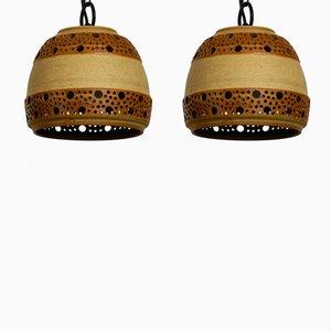 Lampade a sospensione in ceramica di P. Bovin per Bornholm, Danimarca, anni '60, set di 2
