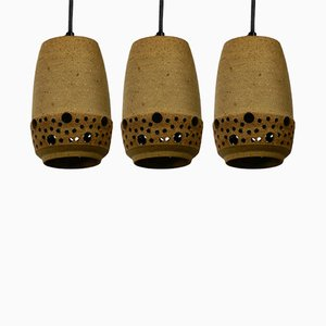 Dänische Deckenlampen aus Keramik von P. Bovin, 1960er, 3er Set