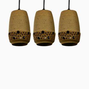 Lámparas de techo danesas de cerámica de P. Bovin, años 60. Juego de 3