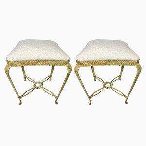 Italian Gold Leaf Stools by Pier Luigi Colli, 1950s, Set of 2