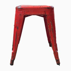 French Red Metal T45 Stools from TOLIX, 1950s, Set of 30