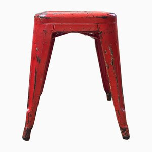 French Red Metal T45 Stools from TOLIX, 1950s, Set of 20