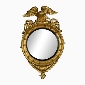 Antique Regency Giltwood & Gesso Convex Mirror