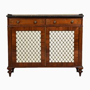 Antique Regency Brass and Rosewood Side Cabinet